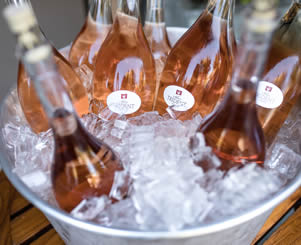 bottles of rose on ice